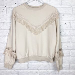 J.O.A. Crewneck sweater with fringe
